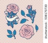 rose tattoo set. sticker  patch ... | Shutterstock .eps vector #538170730