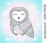cute owl bird  heart pattern.... | Shutterstock .eps vector #538170958