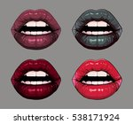 female lips set. modern color... | Shutterstock .eps vector #538171924