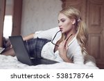 young sexy smart blonde woman... | Shutterstock . vector #538178764