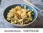 vegan salad with crispy tofu ... | Shutterstock . vector #538196338