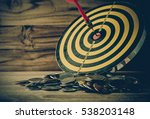 coin with dart board on the... | Shutterstock . vector #538203148