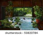 Tv Interior And Waterfall...
