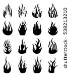 set icons of fire flames on a... | Shutterstock .eps vector #538213210