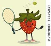 cute strawberry cartoon... | Shutterstock .eps vector #538242694