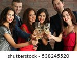 people toasting with glasses of ... | Shutterstock . vector #538245520