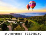 colorful hot air balloons... | Shutterstock . vector #538248160