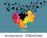 black bird flying out from... | Shutterstock .eps vector #538265560