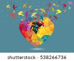 colorful bird flying out from... | Shutterstock .eps vector #538266736
