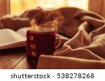 book hot tea and a warm blanket ... | Shutterstock . vector #538278268
