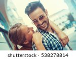 happy young couple hugging and... | Shutterstock . vector #538278814