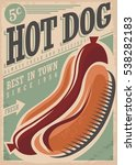 Hot Dog Retro Poster Design...