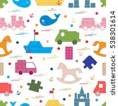 vector illustration kids toys... | Shutterstock .eps vector #538301614