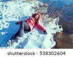 a beauty girl on the winter... | Shutterstock . vector #538302604