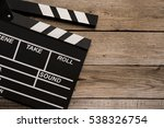 movie clapper on wood table | Shutterstock . vector #538326754