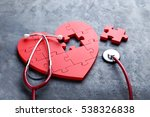 red puzzle heart with... | Shutterstock . vector #538326838
