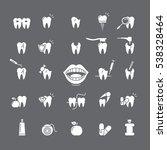 set of white icon for dentistry | Shutterstock .eps vector #538328464