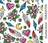 colorful boho seamless pattern... | Shutterstock .eps vector #538334704