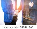 close up of businessmen shaking ... | Shutterstock . vector #538341160