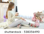 beautiful young woman with cup...   Shutterstock . vector #538356490