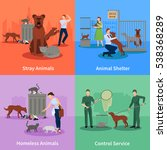 stray animals icons set conduct ... | Shutterstock . vector #538368289