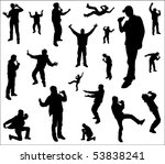 silhouettes of a dancing and...