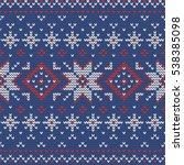 christmas knitting seamless... | Shutterstock .eps vector #538385098