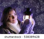 beautiful girl on winter forest ... | Shutterstock . vector #538389628