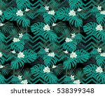 turquoise tropical leaves and... | Shutterstock .eps vector #538399348