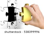 hand holding last missing...   Shutterstock . vector #538399996