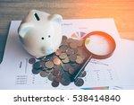 piggy bank with business stuff  ...   Shutterstock . vector #538414840