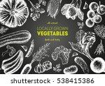 vegetables top view frame.... | Shutterstock .eps vector #538415386