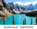 moraine lake is a glacially fed ... | Shutterstock . vector #538420264