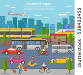 transport in city poster with... | Shutterstock . vector #538432453