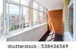 glazed balcony with brick wall | Shutterstock . vector #538436569