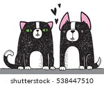a black and white cat and a... | Shutterstock .eps vector #538447510