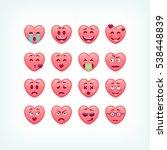 set of heart shape emoticons....   Shutterstock .eps vector #538448839