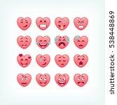 set of heart shape emoticons....   Shutterstock .eps vector #538448869