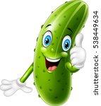 cartoon cucumber giving thumbs... | Shutterstock .eps vector #538449634