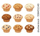 vector set of various muffins... | Shutterstock .eps vector #538451140