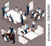 isometric people  businessmen... | Shutterstock .eps vector #538454590