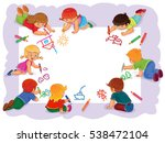 happy children together draw on ... | Shutterstock .eps vector #538472104
