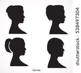 set of black silhouette girl... | Shutterstock .eps vector #538497304