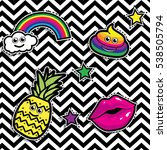 pop art fashion chic patches ... | Shutterstock .eps vector #538505794