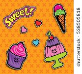 pop art fashion chic patches ... | Shutterstock .eps vector #538505818