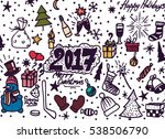 hand drawn christmas sketchy... | Shutterstock .eps vector #538506790