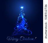 blue glow xmas tree  elegant...   Shutterstock .eps vector #538512736