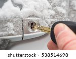 Close Up Of A Key Inserted Int...