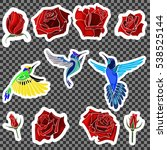 birds and roses. print on... | Shutterstock .eps vector #538525144