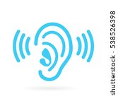 Ear Listen Vector Icon On Whit...